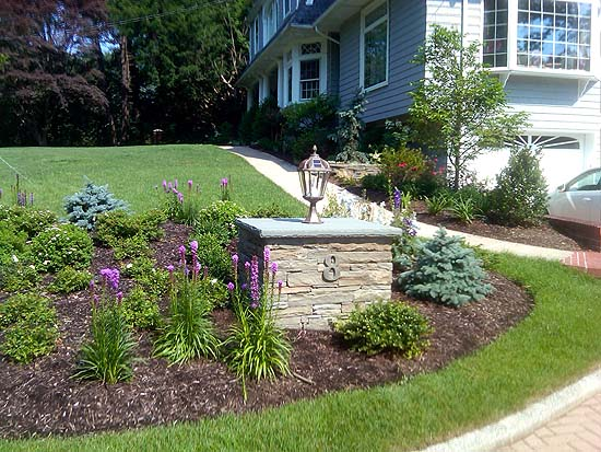 Solar Lighted Colonial Bluestone Column within New Landscaped Design Enhances Curb Appeal