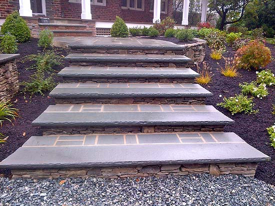 Natural Stone Steps Enhance Entry Path