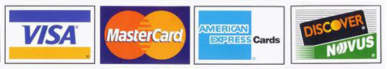 Credit Cards Accepted: Visa, Master Card, American Express, and Discover Card